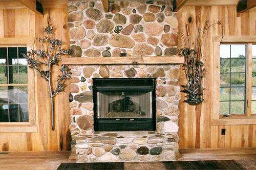 The two wall mount fixtures were designed to compliment the rustic locale of the cabin.