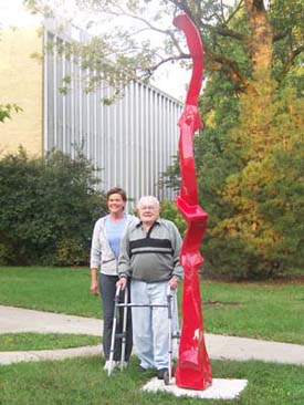 Lorelei and Cary with Sculpture
