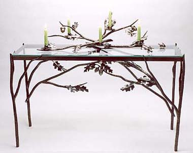 Oak Leaf and Acorn Table with Candelabra
