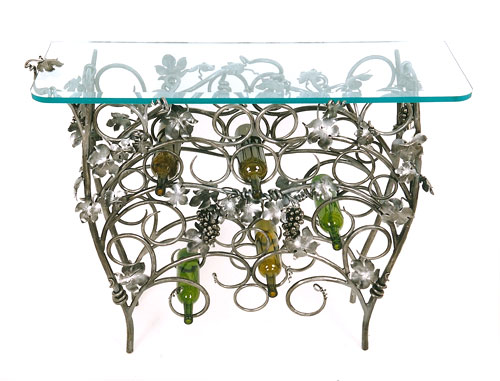 Grape Leaf and Vine Wine Rack Table